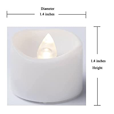 "12 Flameless Tea Lights With Timer Function BONUS Faux Rose Petals - White Bright Battery Operated Candle- Flickering LED Tealights 1.4""X1.4"" Height For Thanksgiving. Best Quality By Mars"