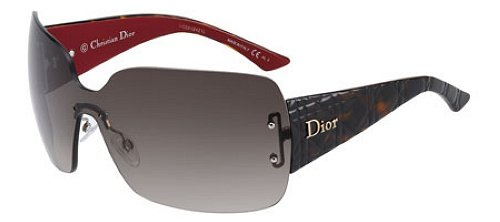 CHRISTIAN DIOR LadyLady 3 Red Tortoise Gradient Shield Rimless Women Sunglasses