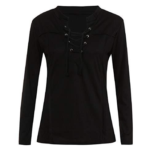 (aihihe Women's Casual Long Sleeve Criss Cross Front V-Neck T-Shirt Blouse Tops(Black,M))