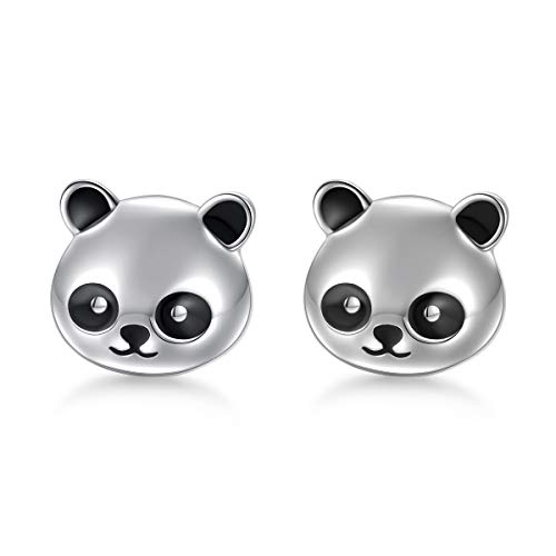 (925 Sterling Silver Hypoallergenic Cute Panda Stud Earrings for Women Girls)