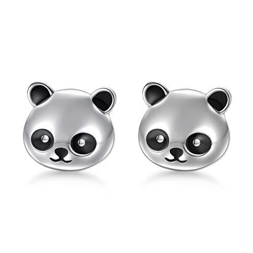 Spirit Bear Earrings - 925 Sterling Silver Hypoallergenic Cute Panda Stud Earrings for Women Girls