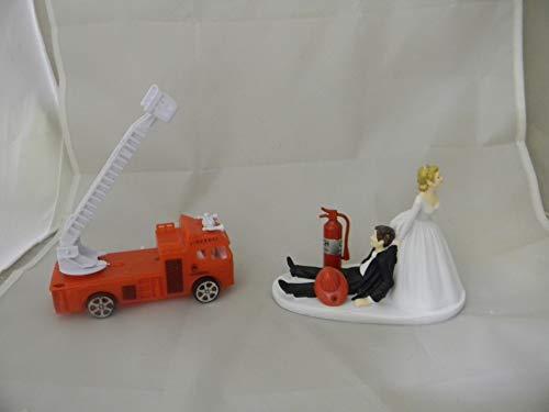 Wedding Party Reception Fire Truck Helmet Fireman Firefighter Cake Topper]()