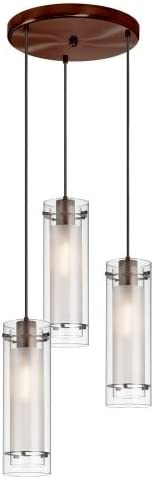 Dainolite 12153R-CF-OBB 3-Light Pendant-Round Canopy, Clear Glass Frosted Insert, Oil Brushed Bronze