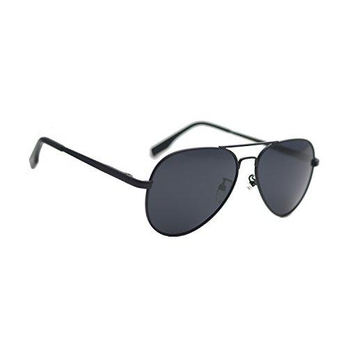 Zacway Small Polarized Spring Hinges Metal Aviator Sunglasses for Men Women UV400 52mm (Matte Black Frame/Grey Lens, 52) (Matte Aviator)