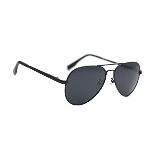 Zacway Small Polarized Spring Hinges Metal Aviator Sunglasses for Men Women UV400 52mm (Matte Black Frame/Grey Lens, 52) ()