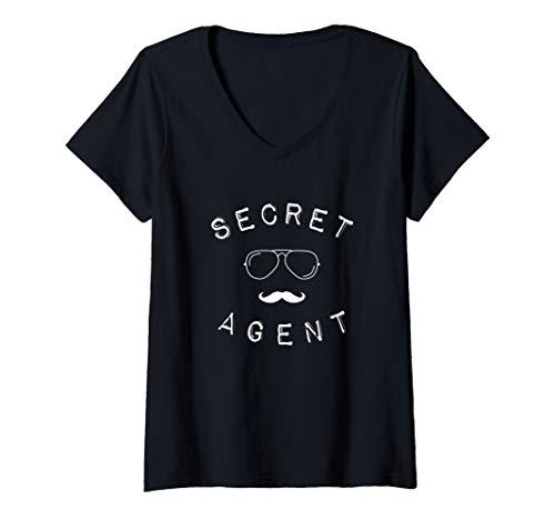 Womens Secret Agent Shirt Distressed Halloween Funny Costume Spy V-Neck T-Shirt