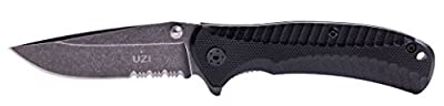 UZI UZK-FDR-016 EVN Stone Wash I Folding Knife with Partially Serrated Stainless Steel Blade/G10 Handle and Metal Pocket Clip, Grey