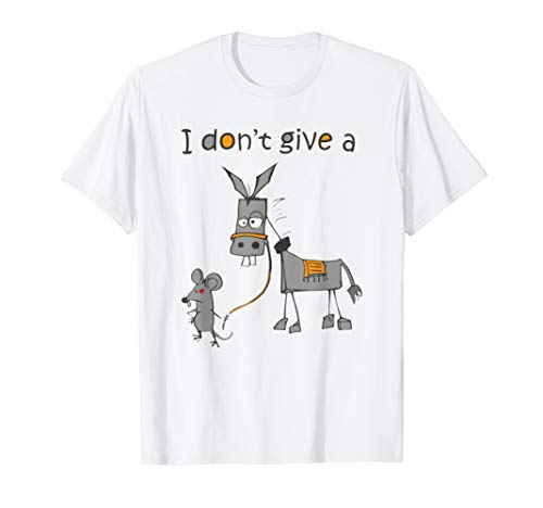 I Don't Give A Rats Ass Mouse Walking Donkey Gift - Yellow Donkey T-shirt