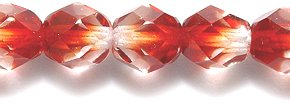 Preciosa Czech Fire 6 mm Faceted Round Polished Glass Bead, 2-Tone Crystal/Garnet, 150-Pack
