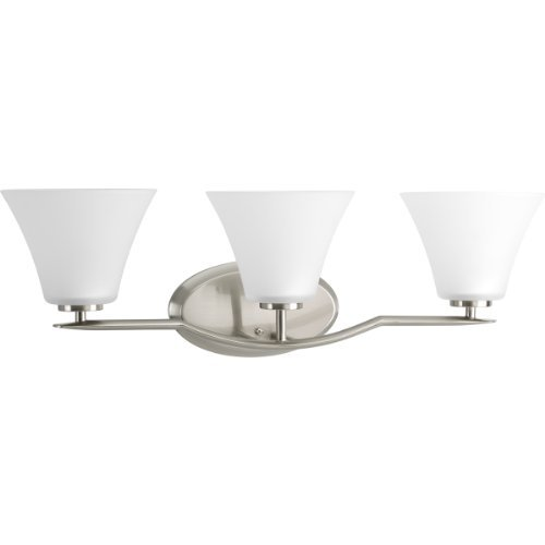 (Progress Lighting P2006-09 Bravo Collection 3-Light Vanity Fixture, Brushed Nickel)