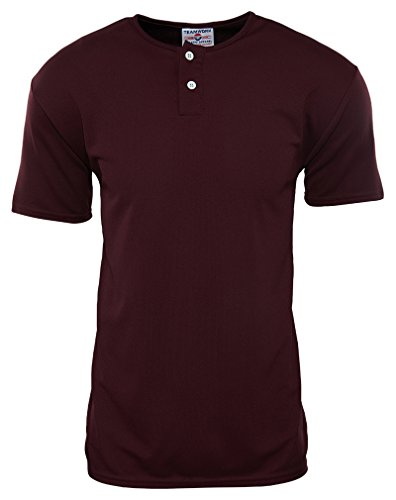 (Teamwork Cool Mesh Moisture Wicking Short Sleeves 2-Button Baseball Jersey Mens Style: 1750P-9 MAROON Size: M)