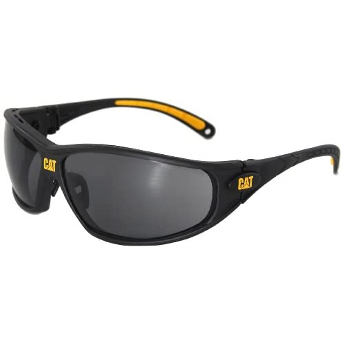 Caterpillar Tread Safety Glasses, Black and Yellow, Blue Mirror
