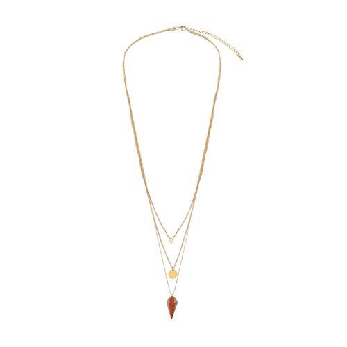 - NIHAI Jewelry Necklace Women, Multi-Layer Necklace Gold Chain Diamond-Shaped Light Red Pendant Choker Jewelry Gift