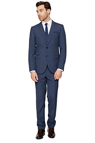 French Connection Men's Slim Fit Blue Textured Suit Jacket 38R (Textured Suit Jacket)
