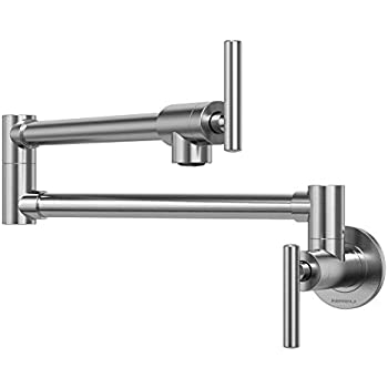 Nireu Pot Filler Faucet Wall Mount Brushed Nickel Folding
