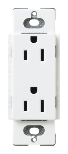 Lutron SCR-15-SW Satin Colors 15A Electrical Socket Duplex Receptacle, Snow