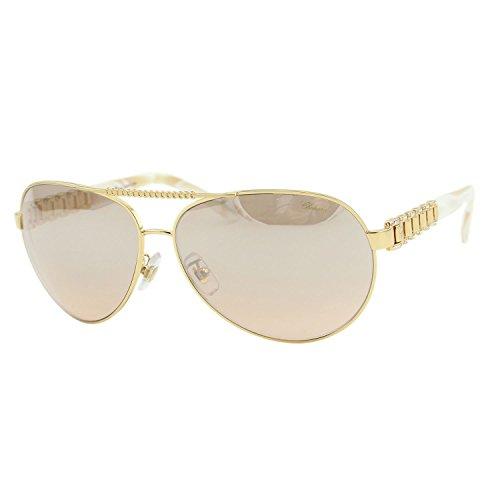 Chopard SCH-A63 H16X Women Gold Chain Link & Crystals Mirror Aviator - Crystal Swarovski Eyewear