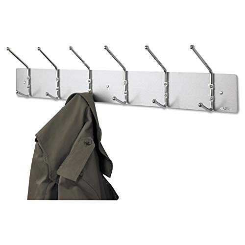 Safco Products 4162 Wall Rack Coat Hook, 6 Hook, Silver