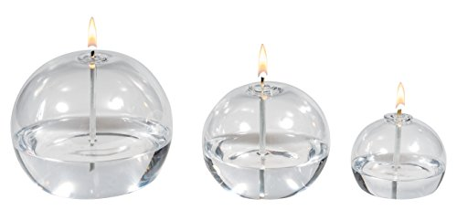 Hand Blown Reusable Smokeless Glass Oil Candle Set of 3. (Blown Glass Oil Lamp)
