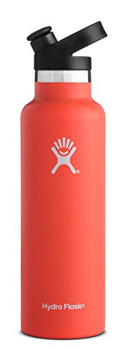 Red Ergo Fit Design - Hydro Flask 21 oz Double Wall Vacuum Insulated Stainless Steel Sports Water Bottle, Standard Mouth with BPA Free Sport Cap, Tangelo