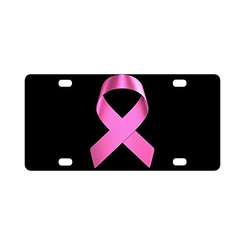 Area Trim License (Breast Cancer Awareness Pink Ribbon Classic Car Accessories Auto Durable Metal License Plate Frame Car Tag 12 X 6 inches (4 Holes))