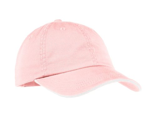 - Port Authority Ladies Sandwich Bill Cap with Striped Closure (Light Pink/White)