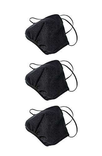Los Angeles Apparel 3 Pack Face Mask Protective Reusable Unisex Fashion Black [Same Day Shipping] [Made in USA]