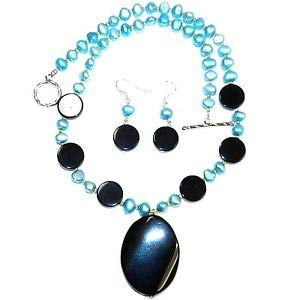 GN178 Black Agate & Blue Freshwater Pearl & Silver 19