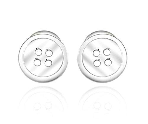 Aooaz Womens Ladies Sterling Silver Charm Earrings Wedding Backfinding Button Stud Earrings Promise