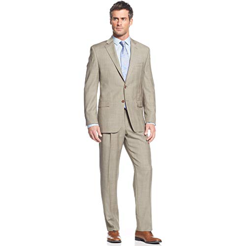 LAUREN RALPH LAUREN Mens 100% Wool 2 pc Garment Suit Glen Plaid, Tan, 42Reg -