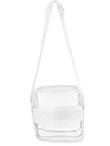Gameday Stadium Approved Clear Messenger Bag Clear Shoulder Bag Transparent Purse with Adjustable Strap (White)