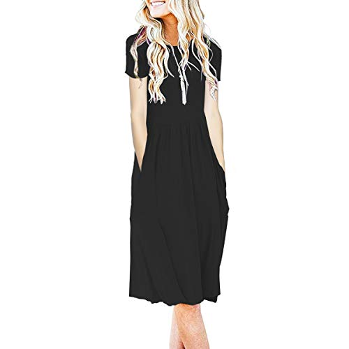 IMBOAZ Women's Short Sleeve Pleated Empire Waist Loose Swing Plain Casual Midi T Shirt Flare Dress with Pockets Black (Sleeve In Short Empire Black Dress)