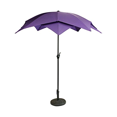Lotus Umbrella - 8.2' Outdoor Patio Powder-Coated Steel Lotus Umbrella - Purple