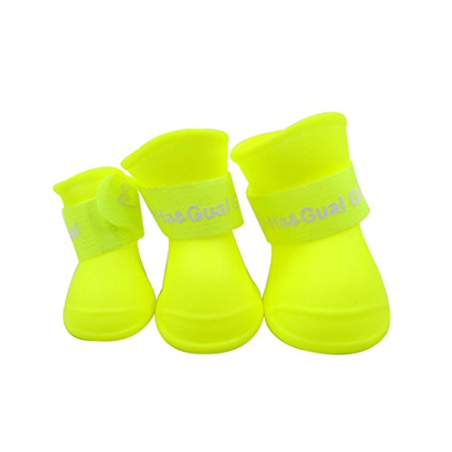 Dog Rain Shoes Boot Waterproof Anti-Slip Shoes waterproof for Small Animal Candy Colors Different Colors, 4pcs by Hoxekle (Image #3)