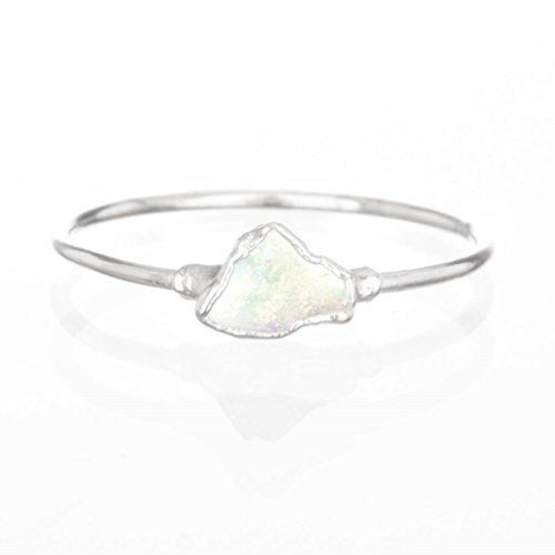 Mini Raw Opal Ring, Size 7, Sterling Silver, October Birthstone Stacking Ring