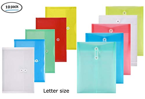 YoeeJob Poly String Envelopes Assorted 5 Top Legal & 5 Side Load Folder with 1 Inch Expanding Gusset Pocket School Office Organizers