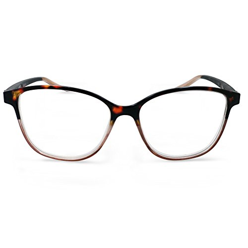 In Style Eyes Cateye Two Tone Reading Glasses Tortoise Brown 3.00