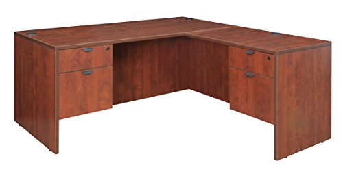 Regency L-shaped Desk - Regency Legacy 66-inch Double Pedestal L-Desk with 35-inch Return- Cherry