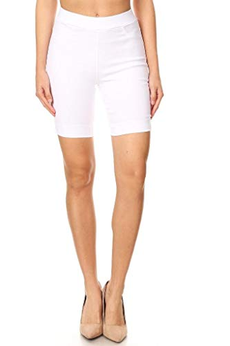(Jvini Women's High Waist Pull-On Skinny Super Stretchy Walk Bermuda Shorts White)