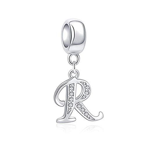 (DALARAN Women Silver Alphabet Charms Bead for Charm Bracelet Birthday Gifts (Letter R))