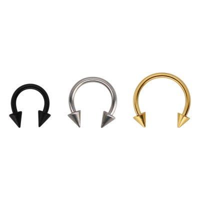 KARAY 3 Pairs Unisex Stainless Steel Horseshoe Hoop Ear Cartilage Helix Septum Circular Barbells Earrings 16 Gauge (8mm)