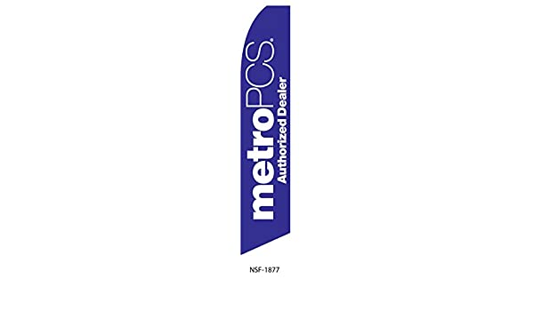 4 four METRO PCS AUTHORIZED DEALER wh//ppl//or 15 Swooper #8 Feather Flags KIT