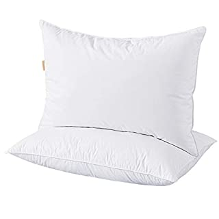 puredown Goose Down and Feather, Set of 2 Bed Pillow, white