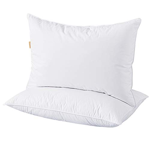 (puredown White Goose Down Feather Bed Pillows for Sleeping Premium 100% Pima Egyptian Cotton Shell Standard/Queen Size Set of 2)