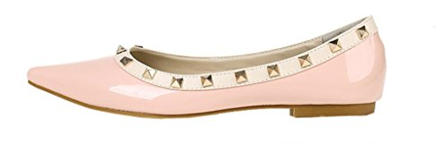 Women's Pointed Toe PU Leather Rivet Flats All-Match Pumps 02 Pink ykTXv94Y
