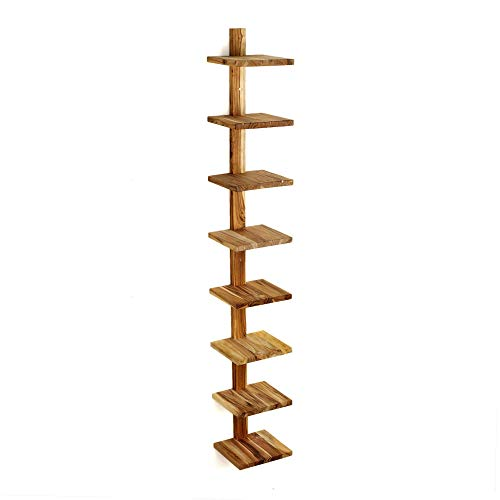 Column Wall - Design Ideas Takara Column Shelf, Natural Teak Decorative Wall Mounted Shelving Unit with 8 Shelves, 63