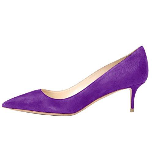 Women Purple Women's for Slip Pumps Heels Office On Pumps Toe Kitten Kmeioo Suede Heels Pointed Low 4EwFBW