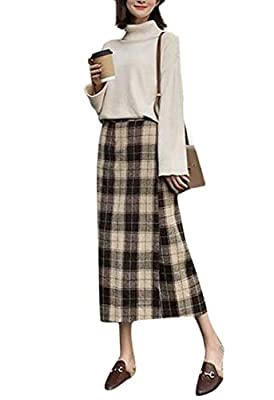 Joe Wenko Women Woolen Blend Casual High Waist Slim Plaid A-Line Skirts