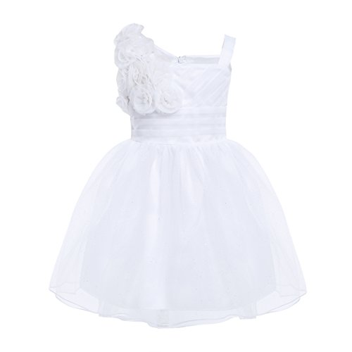 - CHICTRY Baby Toddler Girls Glitter Tulle 3D Rose Princess Wedding Pageant Party Flower Dresses White 12-18 Months