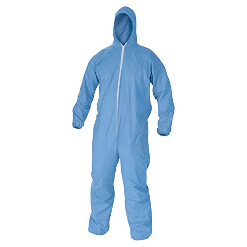 KleenGuard 45024 A60 Elastic-Cuff, Ankles & Back Hooded Coveralls, Blue, X-Large (Case of 24)